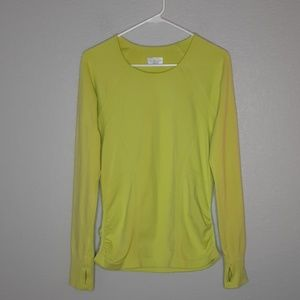 Athleta Chartreuse Yellow Ruched Bottom Longsleeve
